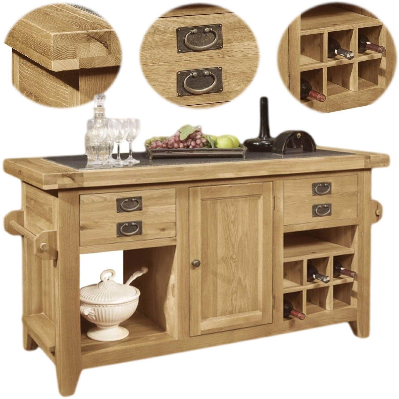 Panama Solid Rustic Oak Kitchen Island Unit